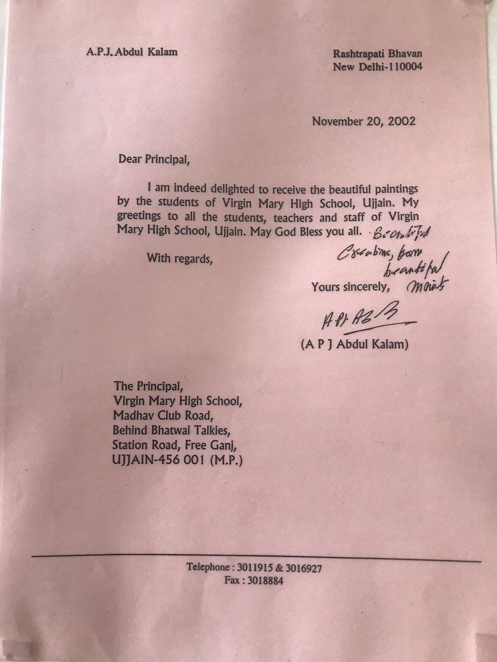 APJ Abdul Kalam Letter